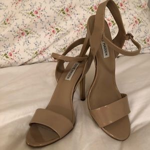 Patent nude strappy pumps